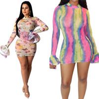 Tie Dye Sheer Vestido de malha Mulheres Sexy Clube Vestidos ver através Ruffle manga comprida Mini Bodycon Vestido
