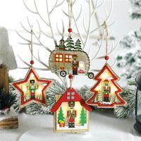 LED Рождество Деревянные Подвески Щелкунчик кукольный елочных Walnut Soldier висячие украшения новогодние подарки Детские JK2008PH