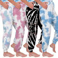 Las mujeres del tinte del lazo flojo pantalones de yoga Palazzo a pantalones larga floja Homewear maternidad Bottoms 4 Color HHA1548