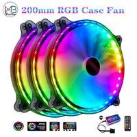 Fans Refriolos Alto Flujo de aire 200mm Funda de caja de la PC Ventilador de enfriamiento silencioso para la computadora 6Pin Mute PWM RGB LED Refrigerador Radiador ajustable