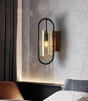 İskandinav Bakır LED Duvar Lambaları Cam Aplikleri Banyo Ayna Işık Armatür Yatak Başucu Koridor Koridor Studyroom Duvar Işık
