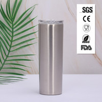 Le moins cher Argent 20 oz Gobelet maigre Coupe Skinny 20 oz en acier inoxydable effilé maigre vide de la bouteille de boisson tasse de café isolé SGS CE FDA