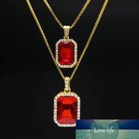 Hip Hop catena Box monili della collana di 2pcs rubino Set collana argento placcato oro ghiacciato fuori Piazza Rossa rubino Bling strass Pendant