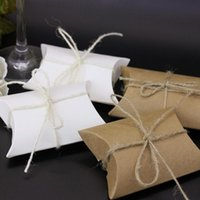 Hediye Paketi 10 adet Düğün Kraft Kağıt Kutuları Yastık Şekli Favor Kutusu Parti Şeker Toptan Baykiye Malzemeleri