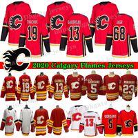 2020 New Eishockey Calgary Flames 13 Johnny Gaudreau Jersey 19 Matthew Tkachuk 23 Sean Monahan 68 Jaromir Jagr 5 Mark Giordano Hocekey Trikots