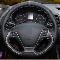 عجلة القيادة يغطي diy أسود جلد طبيعي غطاء سيارة ل KIA 2013 K2 ريو 2021 ceed cee'd 2012-2021 فورتي كوب فورتي 5