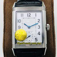 Versión superior ANF Reverso Flip en ambos lados DUAL TIME ZONA 3858520 Dial blanco Cal.854A / 2 Mechas mecánicas Relojes para hombre Relojes de flip 035