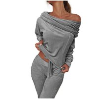 Frauen-Samt-Sets Schulterfrei Langarm Pullover Top + lange Hose Kleidung Sets Zweiteiler Matching Set Frauen Anzug Outfit