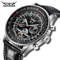 Horloges Mannen Mechanische Horloge Jaragar Automatische Horloges Stijl Tourbillon Kalender Display Zwart Lederen Sportklok