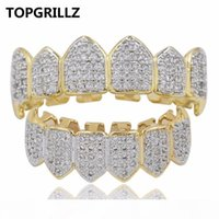 TOPGRILLZ Hip Hop Grillz Iced Out Циркон Fang Рот Зубы Grillz Caps Top Bottom Grill Set Мужчины Женщины Vampire Грили