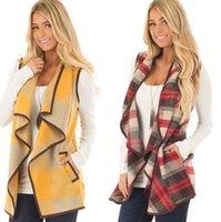 Winter-Buffalo Plaid-Weste-Jacke Cardigan Tasche Frauen Weste Mantel Unregelmäßige überprüfen Ärmel Outwear Weste KKA8045