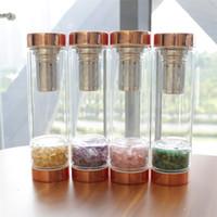 Garrafas 10pcs Natural Crystal Healing Gem Elixir Água Gemstone vidro Stone Therapy Tea Garrafa Filtro Infuser Cup Energia