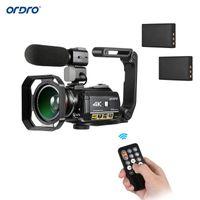 ORDRO AC3 4K واي فاي كاميرا رقمية كاميرا فيديو DV مسجل 24MP 30X ليلة التكبير مع 2PCS بطاريات + إضافي 0.39X عدسة + ميكروفون