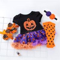 هالوين الاطفال الفتيات الملابس مجموعة المصممين السروال القصير توتو اللباس + عقال + نيباد + أحذية دعوى هالوين الاطفال الأواني الثلوج اليقطين حللا D82503