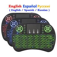 Teclado retroiluminado 3 colores 2.4ghz i8 mini ratón inalámbrico Aire español ruso Inglés con panel táctil de control remoto para Android TV Box