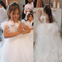Principessa piuma fatti a mano delle ragazze di fiore dell'arco Abiti 2020 ragazze di compleanno formale abiti prima comunione Abiti bambini Tutu spettacolo per matrimonio