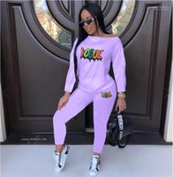 Spring Womens Sequins Solid Tracksuits Letter Pattern Long Sleeve Ladies 2pcs Sets Pullover Casual Slim Female 2pcs Pants