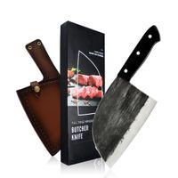 XYJ voller Zapfen Fleischermesser Serbian Chef Handgemachtes geschmiedetes Küche Kochmesser High Carbon-Clad Stahl Butcher Cleaver mit Ledermesserscheide