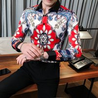 Böhmische gedrucktes Shirt Männer des Entwerfers Paisley Slim Fit Shirt Männer Kleidung 2020 einzigartiger neuer Trend Langarm-Souvenir