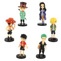 6шт / набор мультфильм аниме _ one piece luffy Zoro Sanji Ace Sabo Robin PVC фигура игрушка коллекция модель кукла подарок