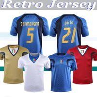 Itália Retro JERSEY 2006 World cup JERSEY Goleiro ITALY retro casa TOTTI PIRLO BUFFON CANNAVARO DEL PIERO Materazzi SOCCER JERSEY uniforme