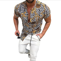 hot sale summer men vintage print Shirt Fashion Shirts Casua...