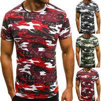 Camicie Ripped Uomini Tee Shirt Slim Fit O collo manica corta T-shirt Muscle casuali parti superiori del cotone del ragazzo casuale Patchwork T
