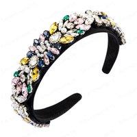 Барокко многоцветный Геометрическая Кристалл головная повязка для женщины Роскошный Сымитированный Pearl Hairband женщина Свадьба партии Аксессуары для волос