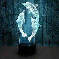 다채로운 원격 제어 3D 램프 돌고래 3D 작은 밤 빛 비전 조명 크리스마스 크리스마스 선물을 주도