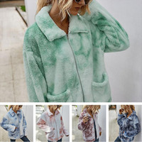 2020 Tie Dye Giacca invernale Warm Warber Berber Fleece Cappotti Donne Peluche Pelliccia Pelliccia Top con cappotto con cerniera tascabile Outwear Fashion Boutique Ploth LY82402