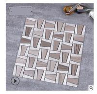 2020 sıcak satış Beyaz ahşap mozaik mermer arka plan duvar karosu, modern sade oturma odası yemek odası geçirmez duvar karosu nemli