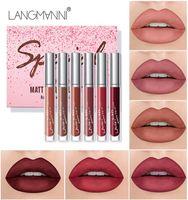 LANGMANNI 6 PCS Lip Gloss Set Veludo Matte Batom à prova d 'água Makeup Longing Maquiagem Labelo Vermelho Brilho Nude Vermelho Líquido Lip Stick DHL Frete Grátis