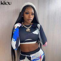 Kliou Kadınlar Sıska Patchwork Eşofman 2 Parça Kıyafetler Uzun Kollu Kırpma Üst Sportif Tayt Eşleştirme Set Rahat Spor Giysileri X0924