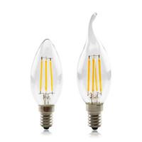 LED 전구 필라멘트 디 밍이 가능한 C35 촛불 전구 2W 4W 6W E14 전구 빛 220V 투명 유리 크리스탈 샹들리에 펜던트 바닥 조명 EUB