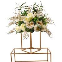 10ps Blumenvase Gold-Säule Metallgestell Ständer aus Metall Straße führt Hochzeits-Mittelblumenständer für Grand-Ereignis-Party-Dekoration