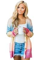 Sexy new womens blusas cardigan cashmere contraste cor mangas compridas soltas stripe festa de festa casual tamanho s-2xl