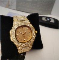 زوجان الرجال النساء ووتش ساحة الكامل الماس سيدة صدأ سلسلة ساعة اليد الفاخرة ساعة كوارتز ساعة جودة عالية الترفيه مصمم أزياء