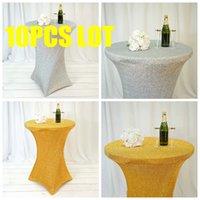 테이블 천으로 10pcs 좋은 찾고 반짝 이는 장식 조각 스 판 덱 스 칵테일 커버 결혼식 이벤트 파티 장식