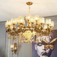 Colorie en laiton Alliage de zinc Crystal lustre D65CM H50CM Salon Decora E14 Suspendues Lumières de suspension Moderne Ambre Shades Chambre Bougeoir Lampes Pendentif