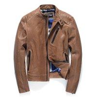 Cuir pour hommes Faux Vintage véritable véritable homme printemps automne moto véritable manteau de peau de mouton jaquetta couro yy450