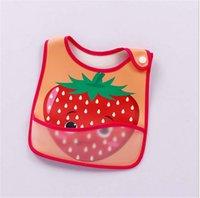Niño Niña baberos para bebés eructar Alimentación Anti-sucia a prueba de agua toalla saliva reutilizable de Apple Fresa PU fruta babero mandiles 7 colores E8603