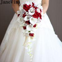 2020 Yapay Inci Kristal Gelin Buketleri Fildişi Şelale Düğün Gelin Çiçek Kırmızı Gelinler El Yapımı Broş Bouquet de Mariage