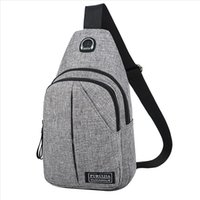 Men Oxford Cloth Chest Bag Pure Color USB Canvas Waist Bag bolsas High Quality Casual Male Bags Fashion Casual Pockets pp