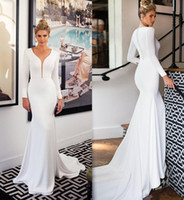 2020 Primavera Satin Mermaid vestidos de noiva manga comprida Sheer V Neck Boho vestidos de noiva elegante Botão Coberto Custom Made vestido de casamento