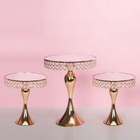 Cristal Dourado Bolo Levante Rosto Espelho Partido Casamento Casa Galvanoplastia Decor Cupcake stand Bandeja do partido Decoração Tabela