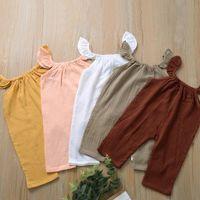 Pudcoco Neugeborene Baby-Kleidung Fest Farbe gestrickt BaumwollSleeveless Bügel Spielanzug-Overall One-Piece Outfit sunsuit Kleidung