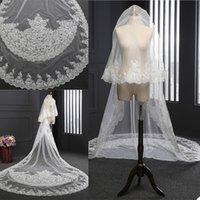 2020 Catedral Veils New casamento Length Bridal Veils apliques de renda Borda Appliqued 3m 2 camadas Blush face Véu do casamento personalizado