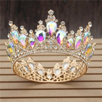Multicolour Crystal Wedding Crown Royal Queen King Bridal Tiaras and Crowns Prom Pageant Head Ornaments Hair Jewelry Accessories Y200807