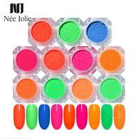 11 Farben Neon Pigment Nail Powder Glitter Glänzendes Puder-Staub-fluoreszierende Farben-Nagel-Kunst-Dekoration Designs Sommer Theme