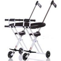 İkizler Çocuklar Yürüyüş Katlama Scooter Çift Koltuk Taşınabilir tekerlekli sandalye için 1-5Y Çocuk Taşıma Araçları Arabaları Çocuk Katlama Bisikletleri